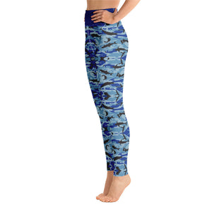 Blue Saltwater Camo Yoga Leggings