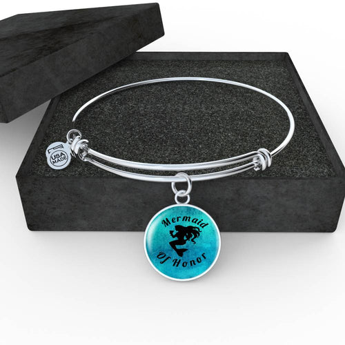 Mermaid of Honor Pendant or Charm Bracelet can be engraved with a special message