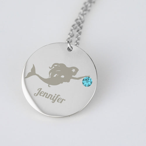 Mermaid Swimming with Birthstone and Name
