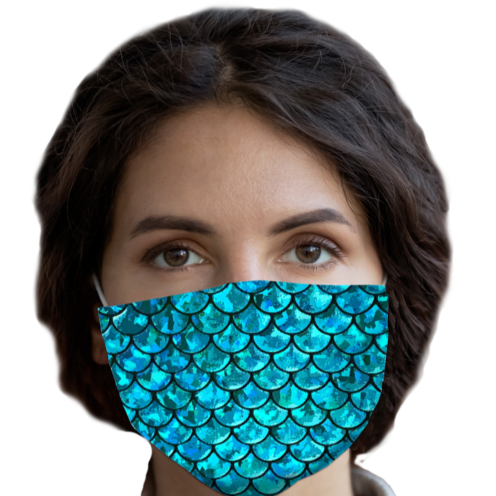 Mermaid Dark Teal Face Mask with Pocket for Filter