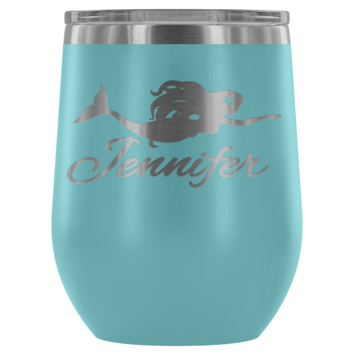 Custom Mermaid Wine Tumbler - Island Mermaid Tribe