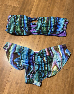 Abalone Strapless Knot Top Scrunch Bottom (M) and (S)