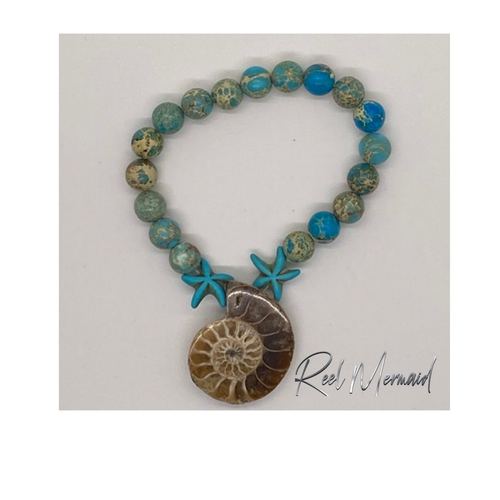 Hand made Sea Sediment Bead with Nautilus Fossil Stretch Bracelet - Island Mermaid Tribe