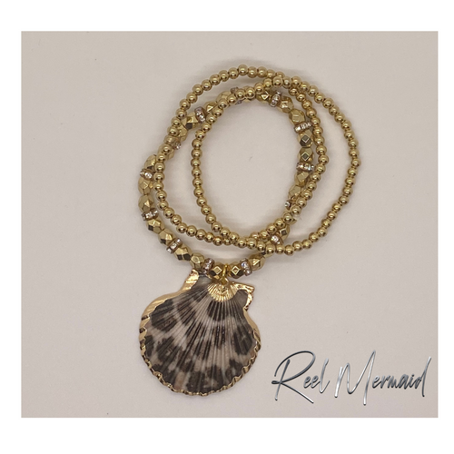 Leopard Print Scallop Shell and Gold beads Stretch bracelet - Island Mermaid Tribe