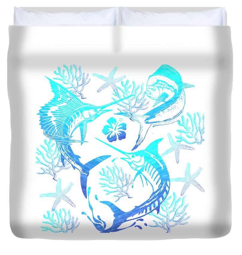 Marlin, Mahi, And Sailfish Blues - Duvet Cover
