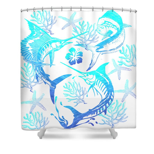 Marlin, Mahi, And Sailfish Blues - Shower Curtain