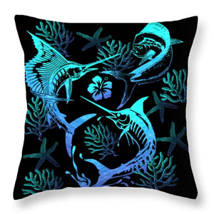 Marlin, Mahi, And Sailfish Blues - Throw Pillow