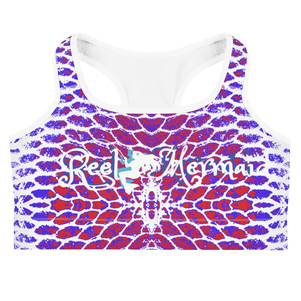 Patriotic Fish Scale Sports bra