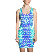 Load image into Gallery viewer, Blue Fish Scale Fitted Dress - Island Mermaid Tribe