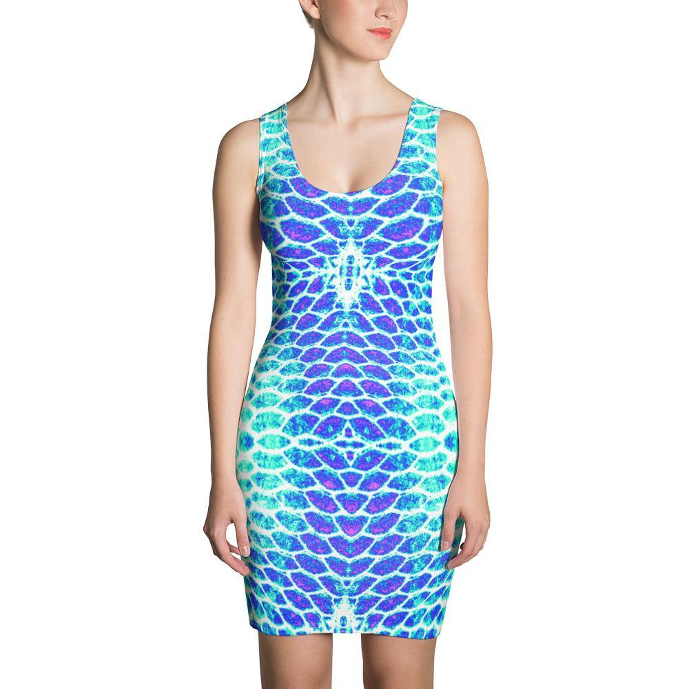 Blue Fish Scale Fitted Dress - Island Mermaid Tribe