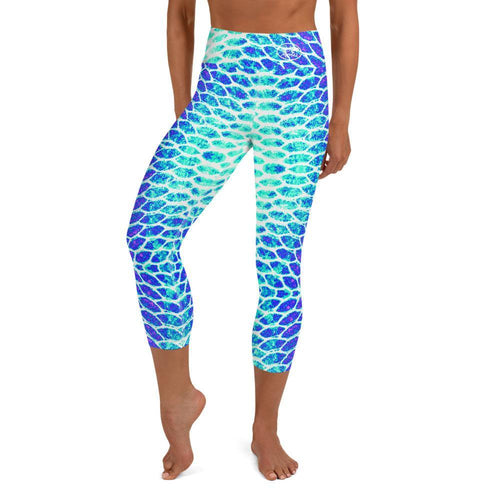 Blue Fish Scale Capri Leggings