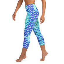 Load image into Gallery viewer, Blue Fish Scale Capri Leggings - Island Mermaid Tribe