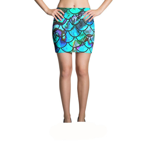 Mermaid Scale Blues I Mini Skirt
