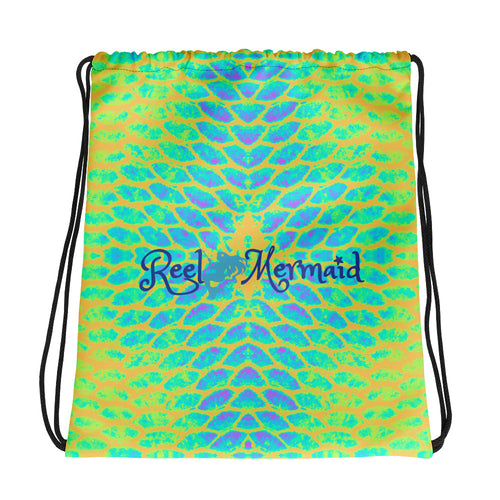 Yellow Tail Reel Mermaid Drawstring bag