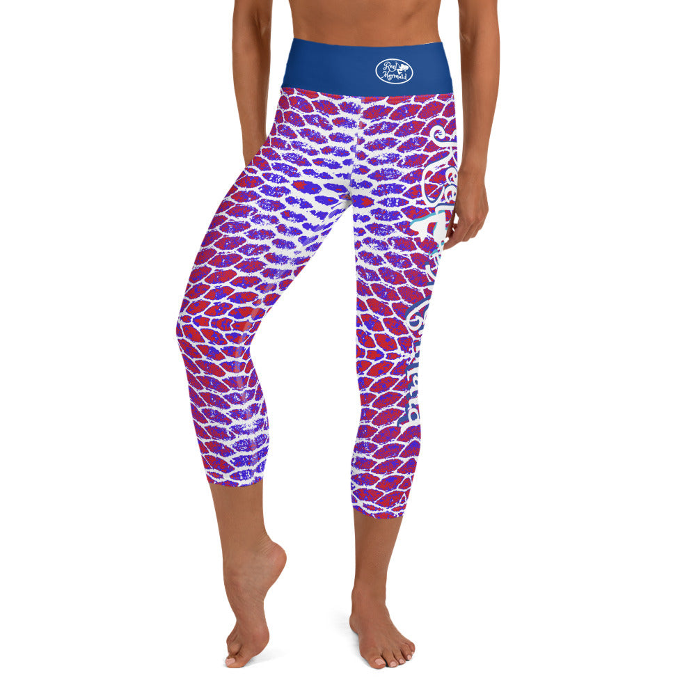 Patriotic Fish Scale Capri Leggings