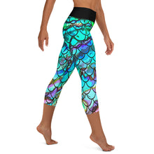 Load image into Gallery viewer, Mermaid Blues Capri with Reel Mermaid Logo on Leg