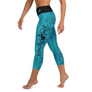 Mermaid Teals Yoga Capri Leggings