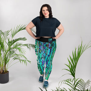 Reel Mermaid Abalone Print Plus Size Leggings