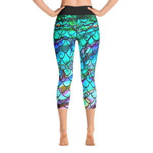 New Blue Multi Mermaid Scale Capri Leggings