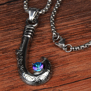 Stainless Steel Fishing Hook With Crystal Pendant Necklace