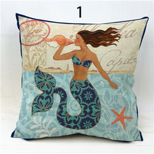 Load image into Gallery viewer, Mermaid Starfish Seahorse Anchor Pillow Case 18x18 Linen