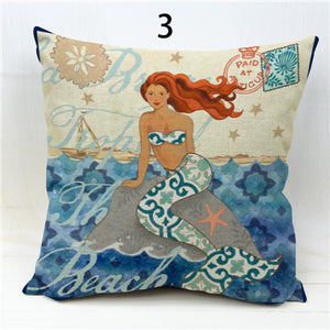 Mermaid Starfish Seahorse Anchor Pillow Case 18x18 Linen