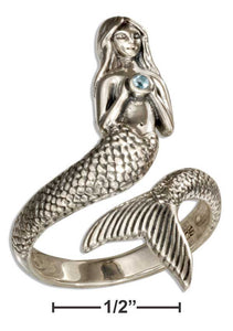 Sterling Silver Mermaid Wrap Ring with Blue Topaz Stone