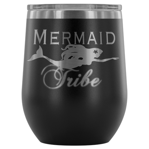 Custom Laser Cut Mermaid Tribe 12oz Wine Tumbler - Island Mermaid Tribe