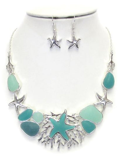Sealife theme and sea glass necklace set - starfish