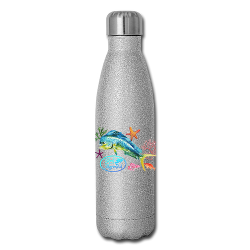 Reel Mermaid Glitter Insulated Stainless Steel Water Bottle - silver glitter