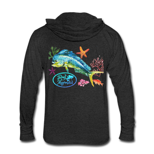 Reel Mermaid Mahi Unisex Tri-Blend Hoodie Shirt - heather black