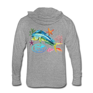 Reel Mermaid Mahi Unisex Tri-Blend Hoodie Shirt - heather gray
