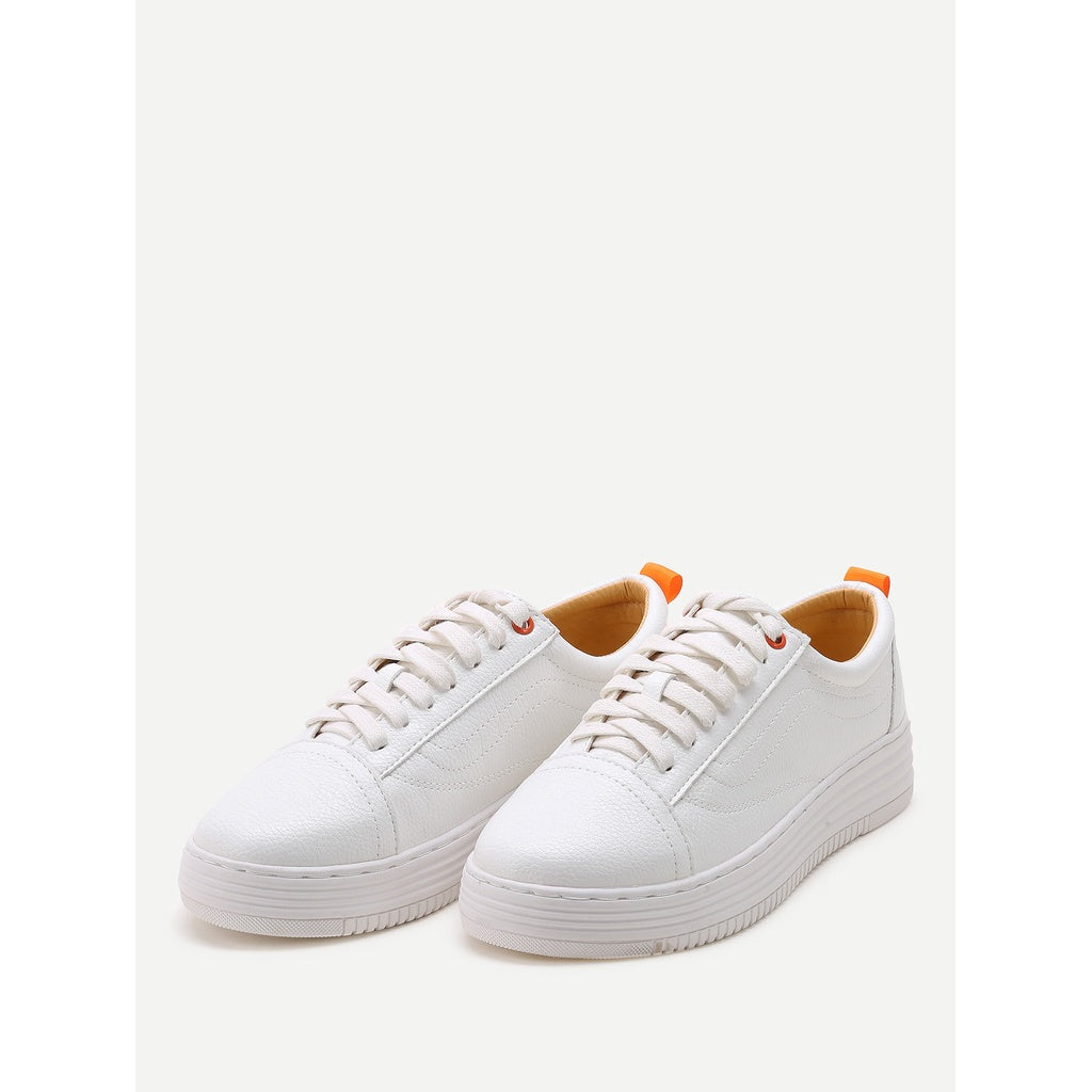 White Round Toe Lace Up Sneakers - Frank's Beauty Supply women wigs,smartwatches,makeup,nail polish