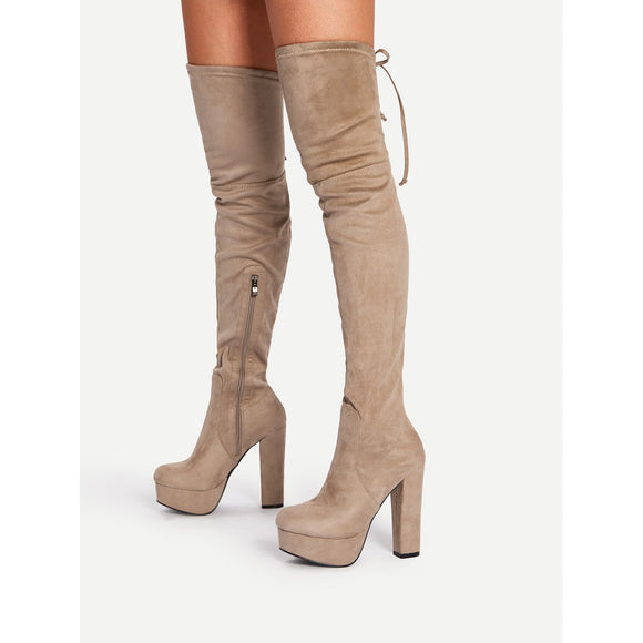 Tie Back Thigh High Heeled Boots - Frank's Beauty Supply women wigs,smartwatches,makeup,nail polish