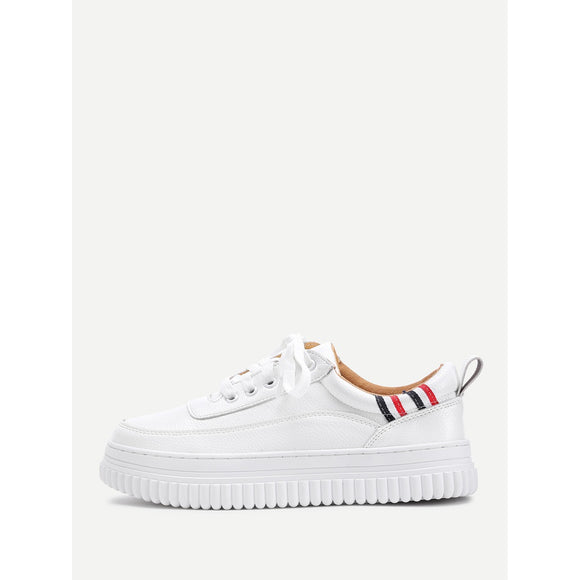 Striped Detail Lace Up Sneakers - Frank's Beauty Supply women wigs,smartwatches,makeup,nail polish