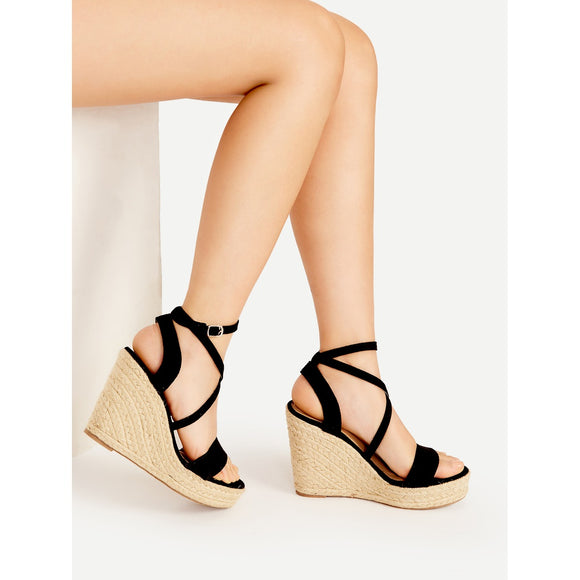 Cross Strap Espadrille Wedges - Frank's Beauty Supply women wigs,smartwatches,makeup,nail polish