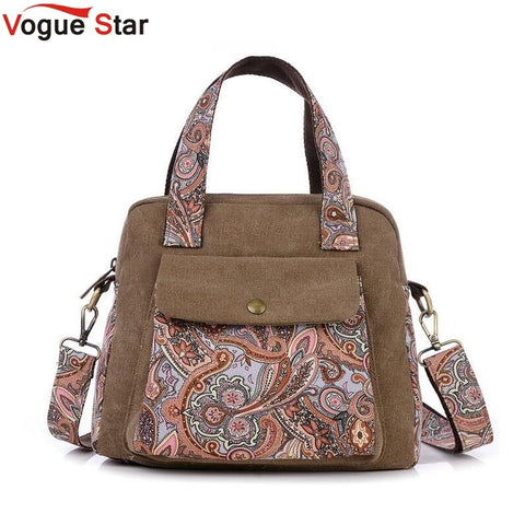 Vogue Star New Top Quality Vintage Women Handbag Ethnic Style Print Flower Canvas Tote  Shoulder bag Women Messenger Bag LS196