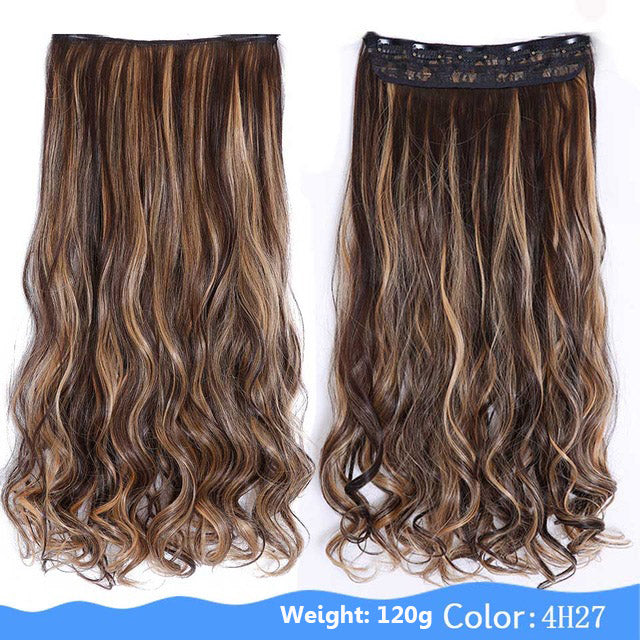 Shangke 24 Long Colored Curly Hair Extensions 5 Clip In Hair