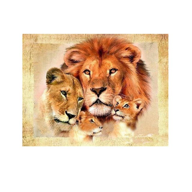 DIY Diamond Embroidery Animal Lions Painting Rhinestone Crystal Mosaic 5D Round Diamond Painting Cross Stitch Kit Home Decor
