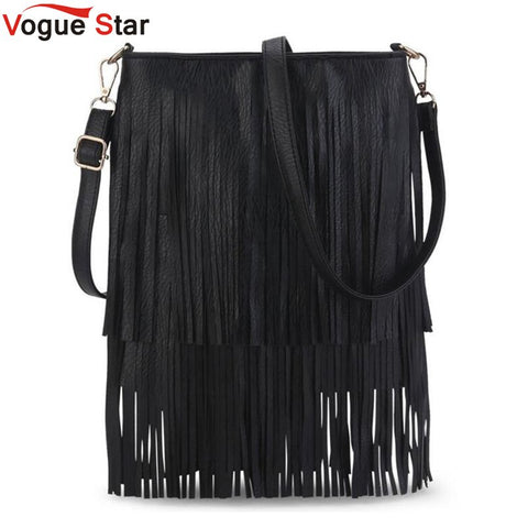 Vogue Star 2018 Women Bag Fashion Casual Tassel Women Shoulder Bag PU Leather Women  Messenger Bag Women Crossbody Bag LB141