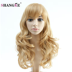 SHANGKE Hair 22'' Long Wavy Synthetic Wigs Blonde For  Women Natural Blond Hair Heat Resistant Synthetic Fake Hair Wigs