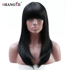SHANGKE Long  Wavy Wig  Women Wigs For African American Heat Resistant Synthetic Wigs For  Women Fake Hairpieces