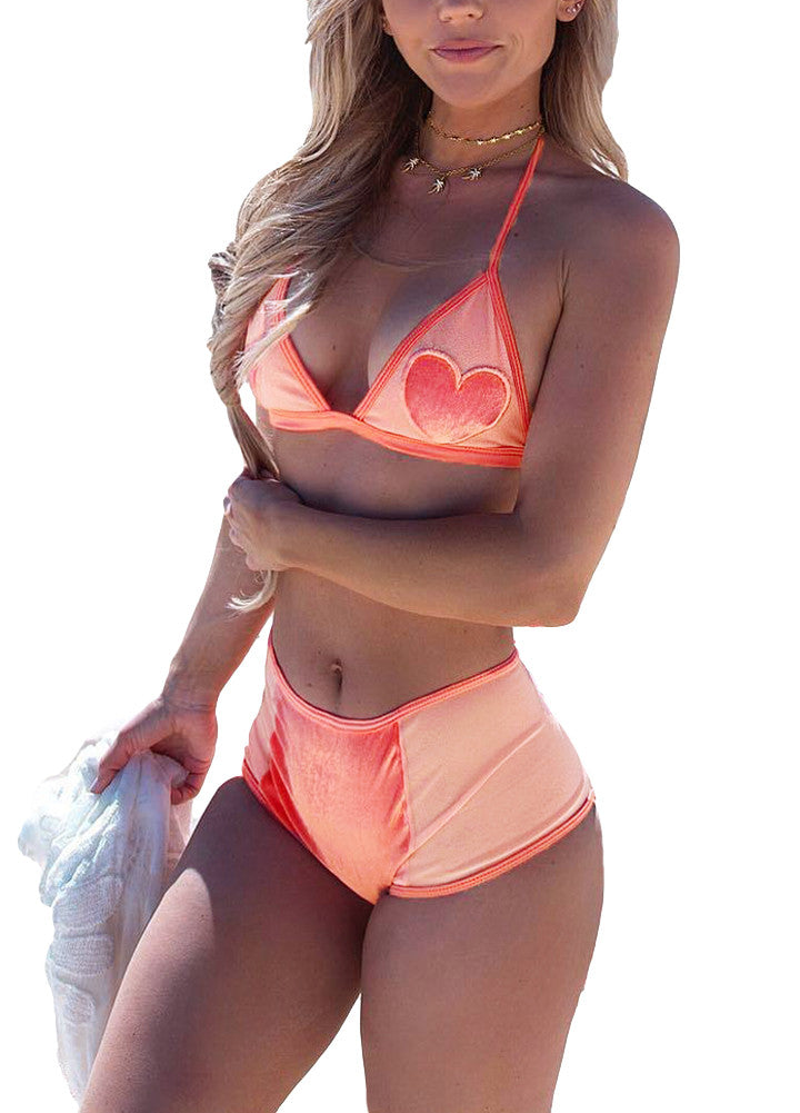 Sexy Women Bikini Set Heart Pattern Halter Bra High Waist Bottom Beach Swimwear Swimsuit Bathing Suit Orange