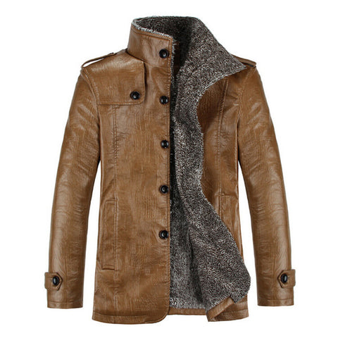 Warm Winter Men's Jackets Thicken Faux Fur Retro PU Leather Men Coat Windproof Slim Fit Jackets Male cowboy Men Winter Clothes