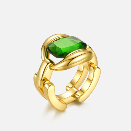 18K Yellow Gold Plated Cocktail Ring With Green Glass Stone For Women