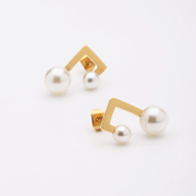 Baroque Double White Pearl 18K Gold Stud Earrings For Women