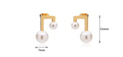 Geometric Double White Pearl 18K Gold Stud Earrings For Women