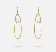 Ocean Wave 18K Gold Drop Earrings For Women