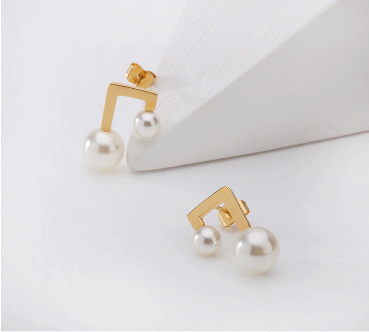 Vintage Double White Pearl 18K Gold Stud Earrings For Women