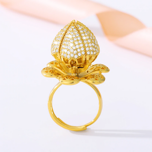 Blooming Flower Ring 18K Gold Plating 1ct CZ Diamond Adjustable